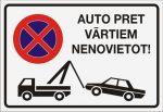 Zīme Auto pret vārtiem nenovietot – uz balta fona – 220x320mm