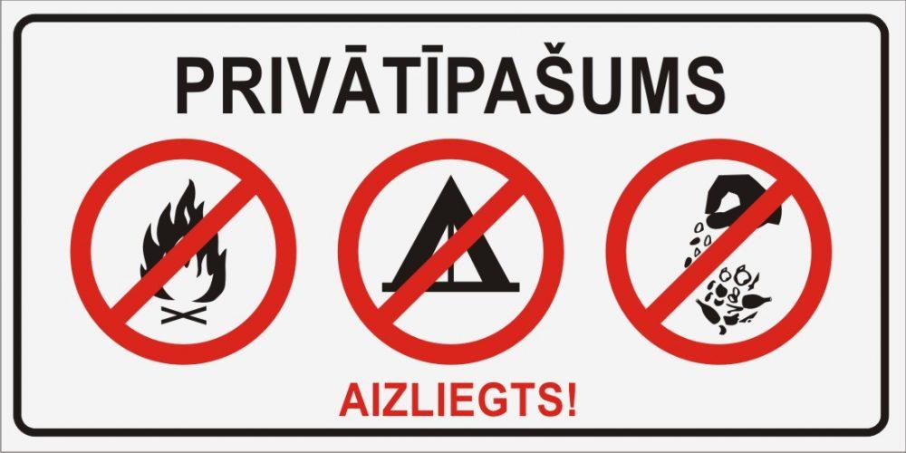 Zīme PRIVĀTĪPAŠUMS - Aizliegts! - uz balta fona - 300x600mm