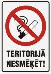 Zīme Teritorijā nesmēķēt - uz balta fona - 220x320mm