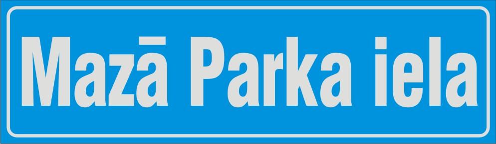 Ielas nosaukumu plāksne uz gaiši zilā fona, 175x600mm