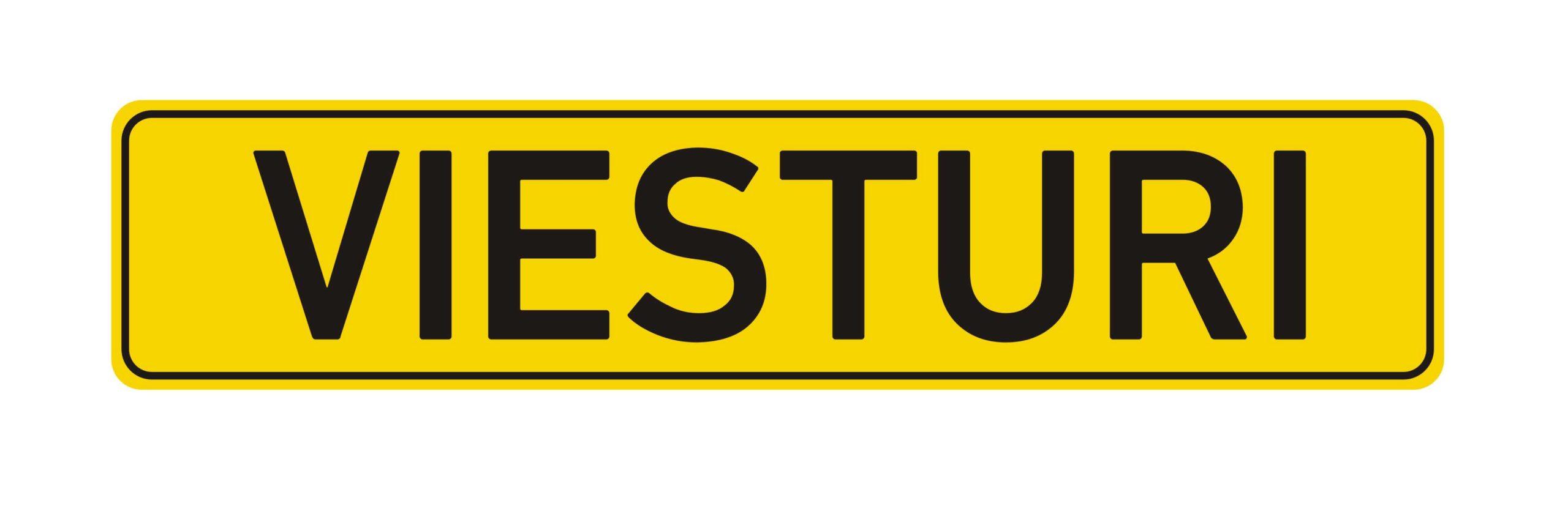 LATSIGN Mājas nosaukuma plāksne dzeltenā krāsā ar izpresētiem burtiem melnā krāsā - Viesturi