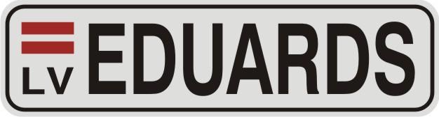 Vārda zīme VĀRDS uz balta atstarojoša fona - 60x220mm