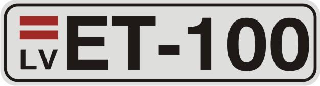 Vārda zīme NUMURS uz balta atstarojoša fona - 60x220mm