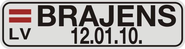 Vārda zīme VĀRDS un DATUMS uz balta atstarojoša fona - 60x220mm