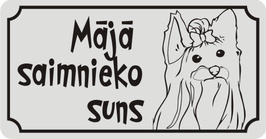 Zīme ar suni MĀJĀ SAIMNIEKO SUNS - uz balta atstarojoša fona - 115x220mm