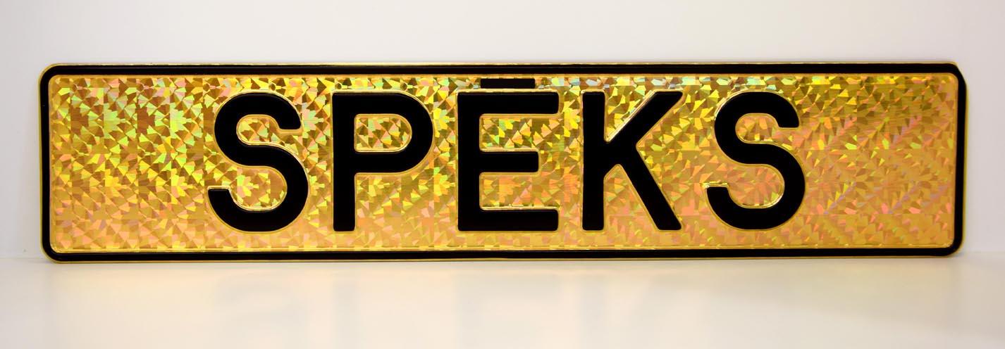 LATSIGN Vārda numura zīme uz vizuļojoša zelta fona - Spēks
