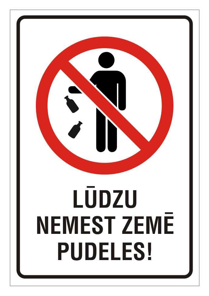 Informatīvā bridinajuma zīme - Ludzu nemest zemē pudeles