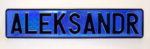 LATSIGN Vārda numura zīme zilā vizuļojošā krāsā - Aleksandr