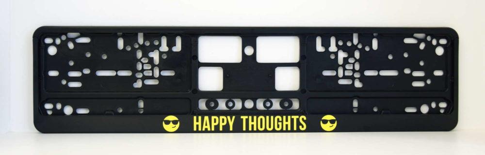 LATSIGN Melns auto numura turētājs ar uzrakstu Happy thoughts dzeltenā krāsā