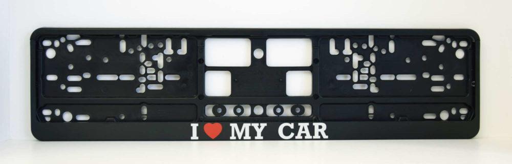 LATSIGN Auto numura turētājs ar uzrakstu - I love my car