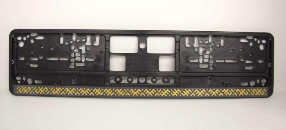 LATSIGN Auto numura turētājs ar zelta krāsas latvju rakstiem ar pelēku pamatni