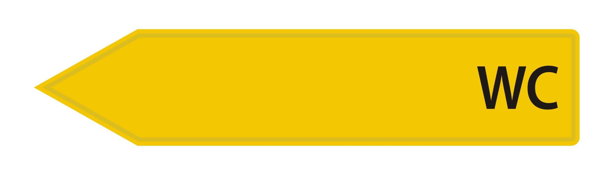 LATSIGN Bultas veida virziena norāde dzeltenā krāsā - WC