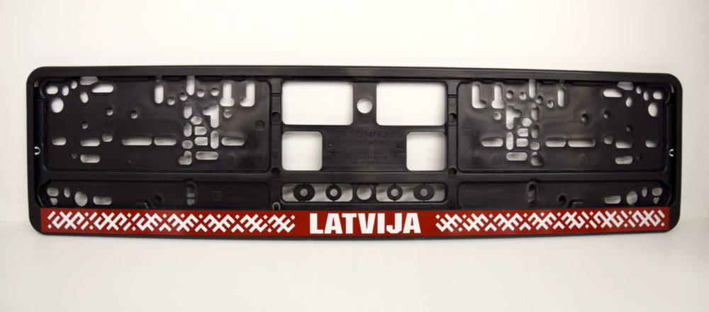 LATSIGN Auto numura turētājs ar latvju rakstiem un uzrakstu - Latvija