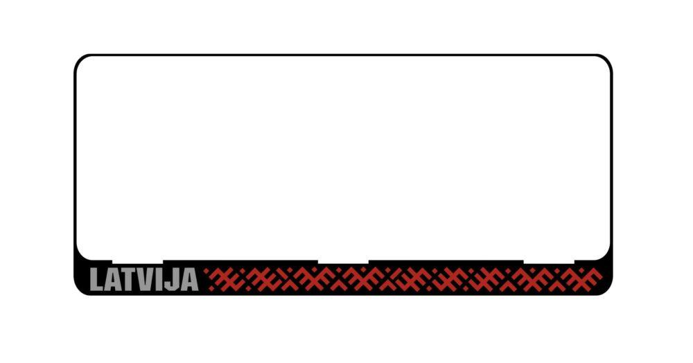 LATSIGN Auto numura turētājs E tipa numura zīmēm ar latvju rakstiem sarkanā krāsā un atstarojošu baltu uzrakstu Latvija