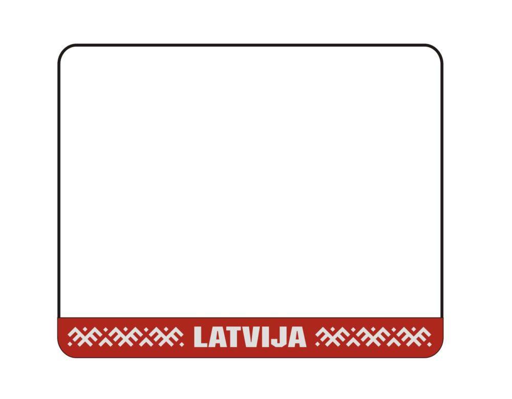 LATSIGN Vācu kvalitātes B tipa auto numura turētājs ar sarkanu fonu, baltiem latvju rakstiem un uzrakstu Latvija