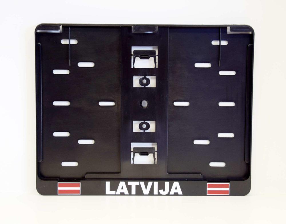 LATSIGN Auto numura turētājs B tips ar Latvijas karogiem un atstarojošu uzrakstu Latvija