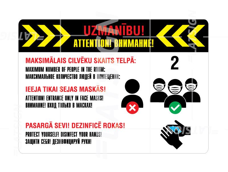 LATSIGN Informatīvā norāde, uzlīme - Maksimālo cilvēku skaits telpā, ieeja maskās, roku dezinfekcija-A4 formātā
