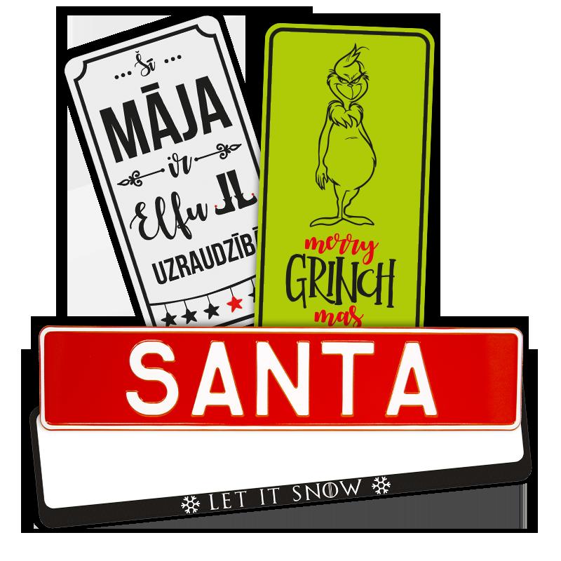 LATSIGN Produkti Ziemassvetku un jaunā gada svētku svinēšana - informatīvās plāksnes, vārdu zīmes, auto numura turētāji un uzlīmes.