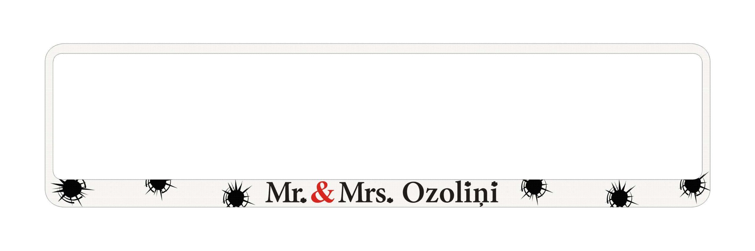 LATSIGN Auto numura turētājs baltā krāsāar uzrakstu - Mr. & Mrs.