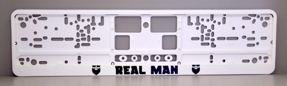 LATSIGN Auto numura turētājs baltā krāsā ar uzrakstu- Real Man