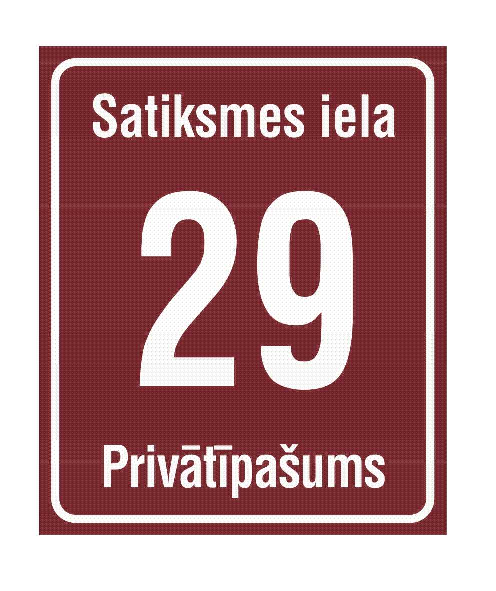 LATSIGN Mājas numura plāksne Jelgava. Izmērs - 250 x 300 milimetri