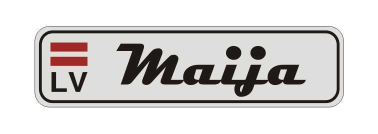 LATSIGN Informatīvā ratiņu vārda numura zīme ar latvijas karogu - Maija