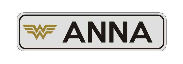 LATSIGN Informatīvā ratiņu vārda numura zīme Wonderwoman - Anna