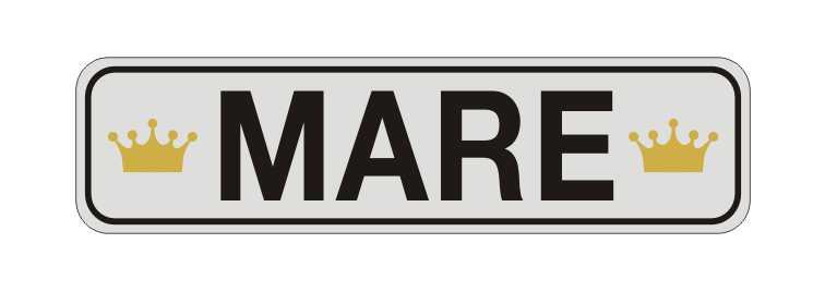 LATSIGN Informatīvā ratiņu vārda numura zīme ar kroņiem - Mare