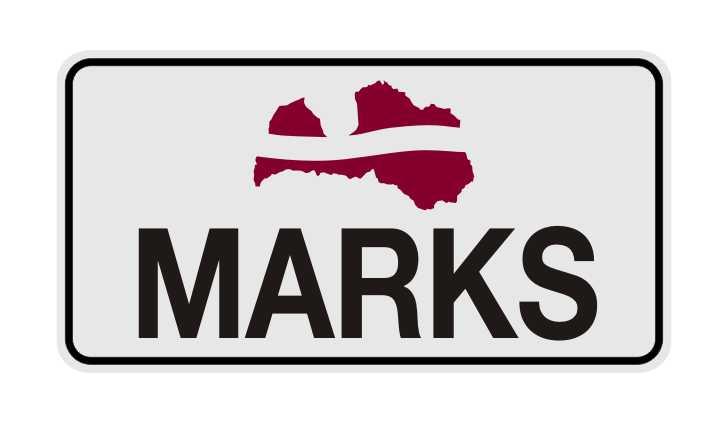 LATSIGN Informatīvā ratiņu vārda numura zīme ar Latvijas karogu un kontūru - Marks