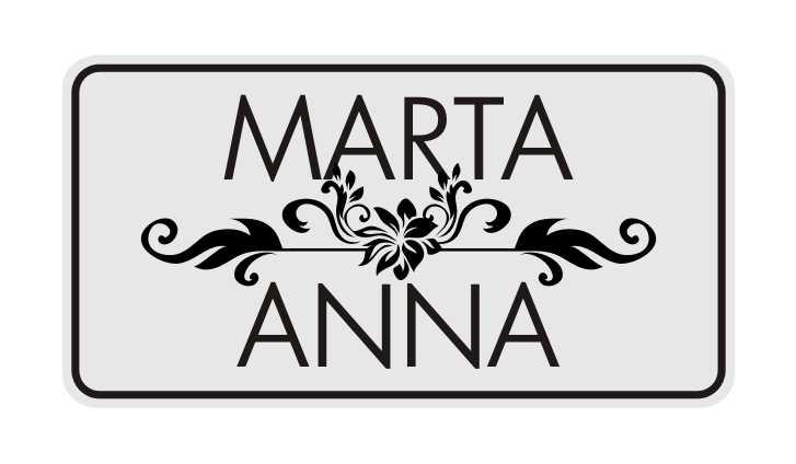 LATSIGN Informatīvā ratiņu vārda numura zīme ar ornamentiem - Marta Anna