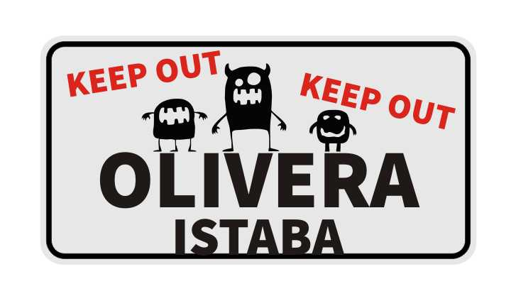 LATSIGN Brīdinājuma vārda zīme - Olivera istaba, keep out