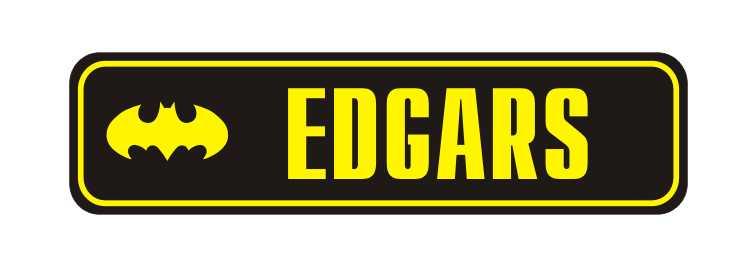 LATSIGN Informatīvā ratiņu vārda numura zīme melnā krāsā, Batman - Edgars