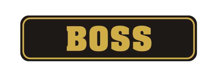 LATSIGN Informatīvā ratiņu vārda numura zīme melnā krāsā - Boss