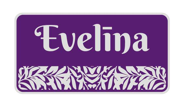 LATSIGN Informatīvā ratiņu vārda numura zīme violetā krāsā ar atstarojošu fonu - Evelīna