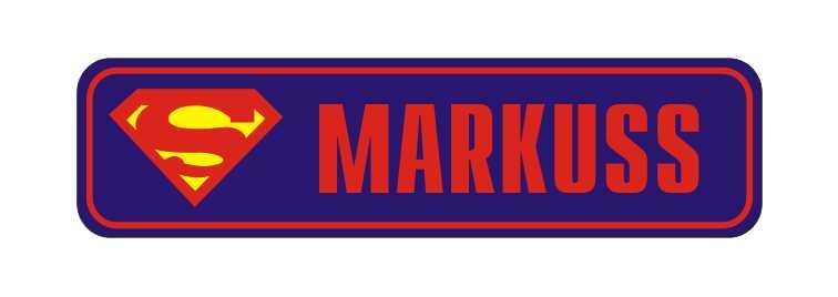 LATSIGN Informatīvā ratiņu vārda numura zīme tumši zilā krāsā, Superman - Markuss